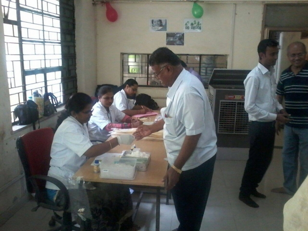 Blood donation camp held on the occasion of the Foundation Day at Shrijee Group, Nagar