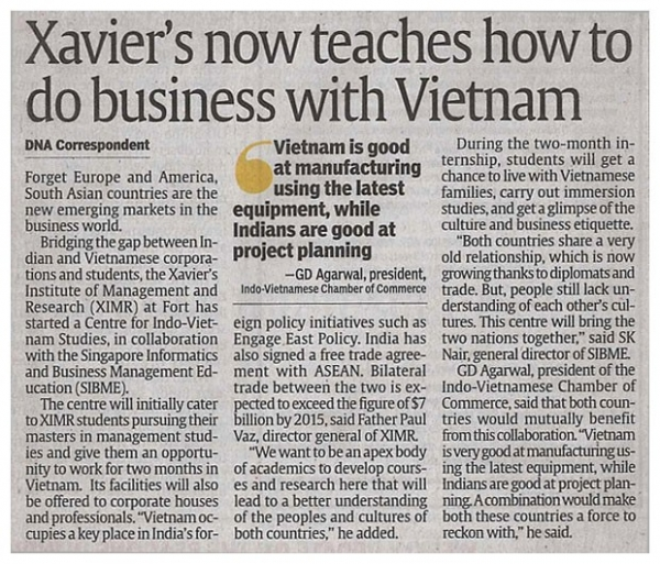 Xavier Institute of Management's Center for Indo-Vietnamese Studies